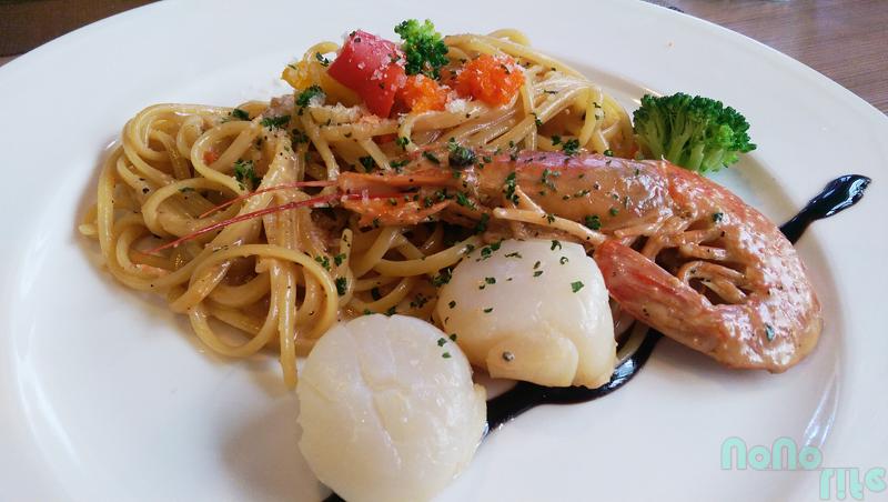 金色大門法式藍帶干貝天使紅蝦佐明太子義大利麵